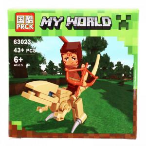 Set de constructie, Minecraft my world, calaretul cu arc de aur, 43 piese