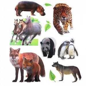 Set Sticker 8D pentru copii, Animale, decor camera, ST-HK803, Multicolor