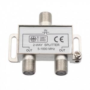 Splitter TV pentru cablu coaxial, 2 iesiri, 5-1000 MHZ,
