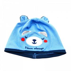 Caciula pentru copii, cu urechi si imprimeu ursulet, marime 36, Bleu cu Albastru