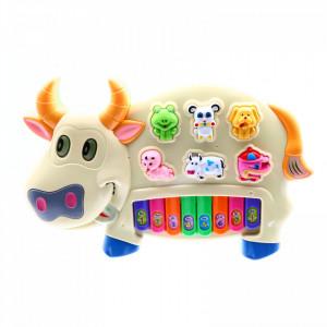 Jucarie interactiva pian cu sunete animale si note muzicale, Lumini, 8 Clape, 6 sunete distincte, Crem