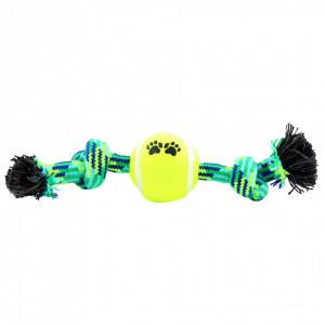 Jucarie pentru caini cu minge de tenis, Verde