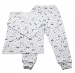 Pijamale copii, Model alb cu fundite negre, Model Romanesc, Bumbac, 4 - 5 ani, P45P1