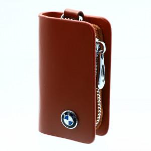 Portofel pentru cheie auto, sigla BMW, tip breloc, piele, cu fermoar, 10 x 6 x 2.5 cm, Maro
