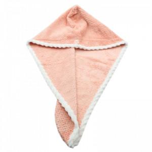 Prosop pentru uscat parul, cu un nasture pentru fixare, pentru adulti, 65 x 26 cm, Roz pudra
