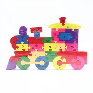 Puzzle din lemn cu litere si cifre, Trenulet, 26 piese