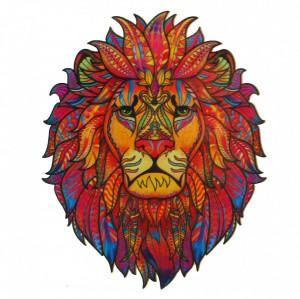 Puzzle Leu din lemn, Multicolor, 15 x 21 cm, 94 piese