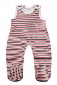 Salopeta bebe tip maieu, Imprimeu dungi rosii si gri, 6 - 9 luni, SM69SM5