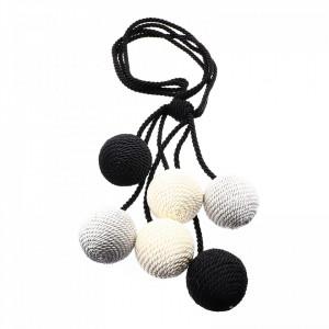 Set 2 buc, Accesorii strangere perdea si draperie, model snur cu 6 bile, 90 cm, Negru