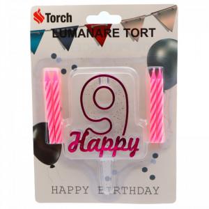 Set 4 buc, Lumanare aniversara,cu suport in forma de Cifra 9, pentru tort, Roz