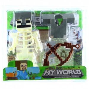 Set 4 piese, Figurina si accesorii, Tip Minecraft, Alb
