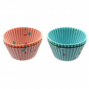 Set 6 bucati, forme de copt din silicon pentru briose sau savarine, 6.5 x 3.3 cm, Roz si Bleu