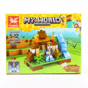 Set de constructie Lego, Poarta dintr-o alta dimensiune tip Minecraft, 56 Piese