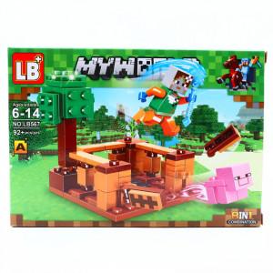 Set de constructie, Minecraft si alergatul porcului nestatornic, 92 piese