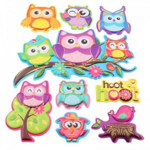 Set Sticker 3D pentru copii, Bufnite, decor camera, 9 piese, JJ-FD010, Multicolor