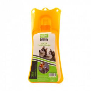 Adapatoare animale portabila, bol plastic, sistem antivarsare, Portocaliu, 500ml