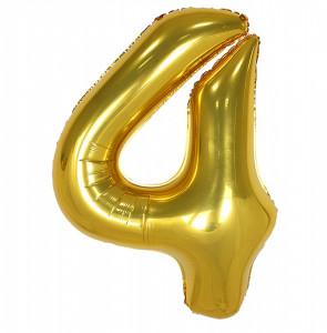 Balon din folie metalizata, 80 cm, cifra 4, Auriu