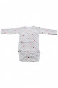 Body copii cu maneca lunga si manusi, Imprimeu inimioare si cerculete, 3 - 6 luni, BM36BM2