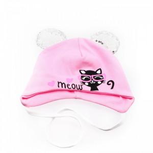 Caciula pentru fetite, cu imprimeu pisicuta si urechi cu paiete, marime 36, +6 luni, Roz