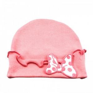Caciulita pentru fetite, cu fundita, 3-6 luni, Roz pudra