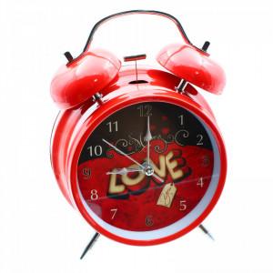 Ceas de masa cu alarma, Metalic, Rosu