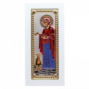 Icoana Maica Domnului, Sporul Casei, argintata 925, lemn, 23 x 11 cm, Alb