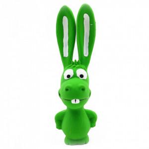Jucarie pentru animale de companie, forma iepure, cu sunet, Verde, 17 cm