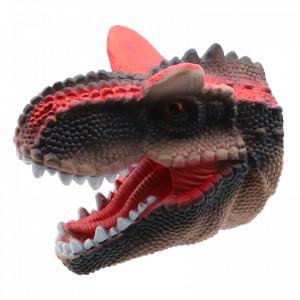 Jucarie pentru teatru de papusi, cap de dinozaur T-Rex, 15 cm