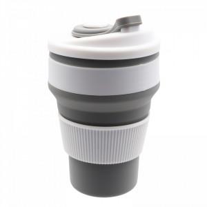Pahar din silicon, pliabil, cu capac si protectie bauturi fierbinti, 350 ml, Gri