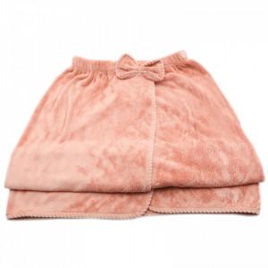 Prosop de baie, pentru femei, tip rochita, prindere cu arici sau nasture, 140 x 80 cm, Roz pudra