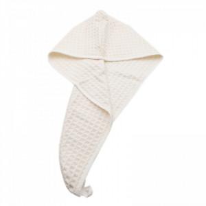 Prosop pentru uscat parul, absorbant, cu un nasture pentru fixare, pentru adulti, imprimeu carouri, 65 x 26 cm, Bej