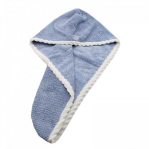 Prosop pentru uscat parul, cu un nasture pentru fixare, pentru adulti, 65 x 26 cm, Albastru