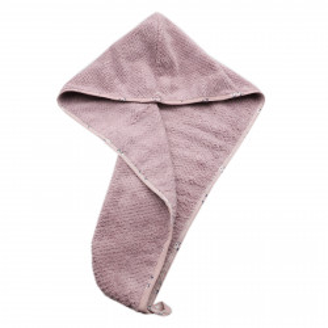 Prosop pentru uscat parul, cu un nasture pentru fixare, pentru adulti, model floral, 65 x 26 cm, Lila