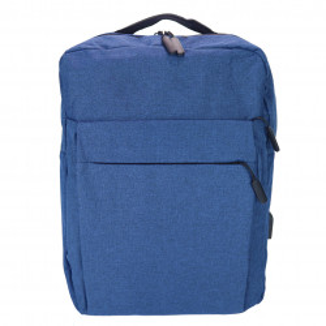 Rucsac Laptop pentru Barbati, cu cablu USB si port extern inclus, Albastru
