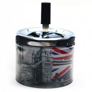 Scrumiera din metal, cu buton, model London, 9 x 7.3 cm