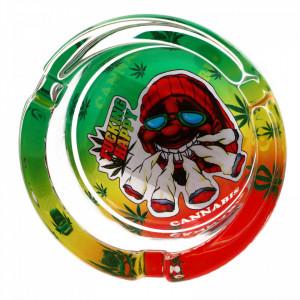 Scumiera din sticla, model frunze de canabis si 5 tigari, 8.5 x 3.5 cm, Multicolor