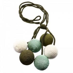 Set 2 buc, Accesorii strangere perdea si draperie, model snur cu 6 bile, 94 cm, Verde