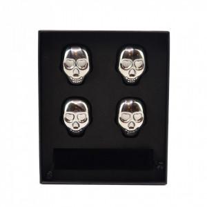 Set 4 cuburi tip craniu din otel inoxidabil pentru racit bautura fara a pierde gustul, otel inoxidabil, cleste, cutie depozitare, argintiu