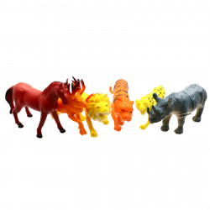 Set 6 figurine, Lumea animalelor, Cal, Cerb, Leu, Tigru, Puma, Rinocer