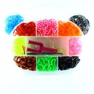 Set creativ cu accesorii pentru realizarea bratarilor din elastic, 800 piese, Multicolor