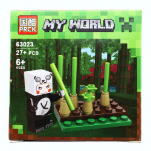 Set de constructie, Minecraft my world, ursul panda si platatia de bambus, 27 piese