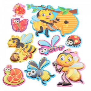 Set Sticker 3D pentru copii, Insecte, decor camera, 9 piese, JJ-FD004, Multicolor