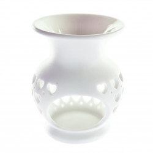 Suport din ceramica pentru aromaterapie, inimioare, Alb