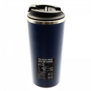 Termos pahar, antialunecare si antivarsare, cu pereti dubli, 500 ml, Bleumarin