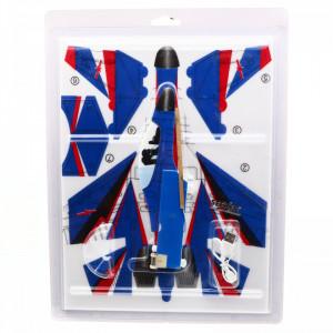 Avion planor din polistiren cu elice si lumina LED, incarcare USB, lungime, 30 cm, Albastru cu Rosu