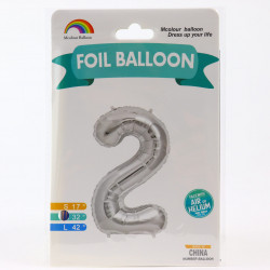 Balon din folie metalizata, 80 cm, cifra 2, Argintiu