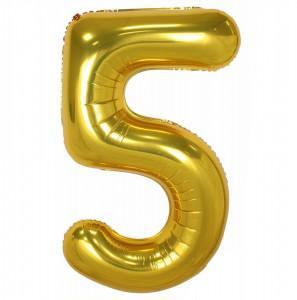 Balon din folie metalizata, 80 cm, cifra 5, Auriu