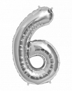 Balon din folie metalizata, 80 cm, cifra 6, Argintiu