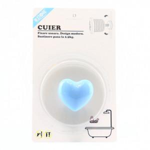 Cuier pentru baie in forma de inima, Albastru