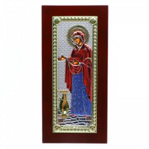 Icoana Maica Domnului, Sporul Casei, argintata 925, lemn, 23 x 11 cm, Rosu